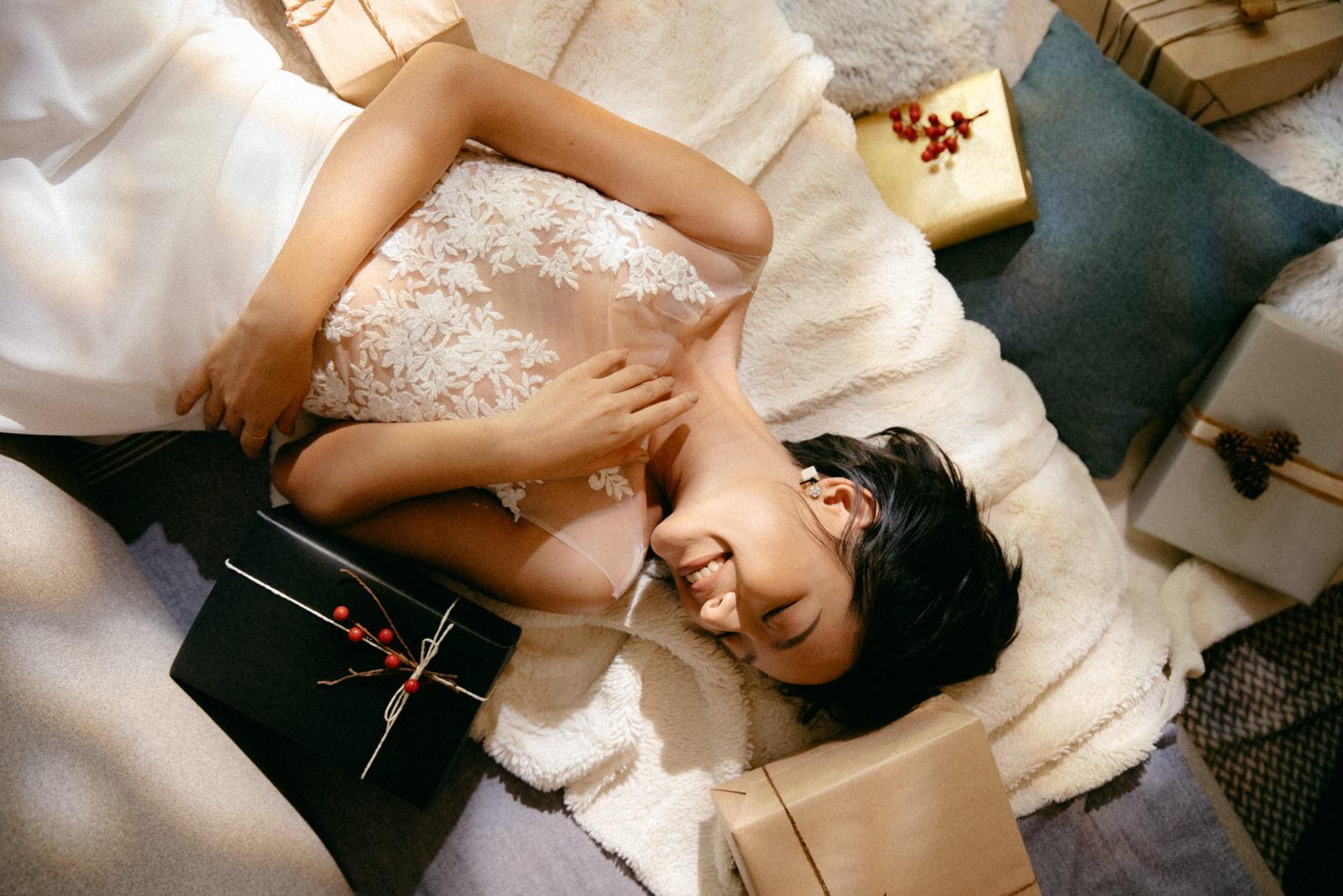 NW-076_Lace Bodysuit & NW-060_Chiffon 1/2 Circular Skirt