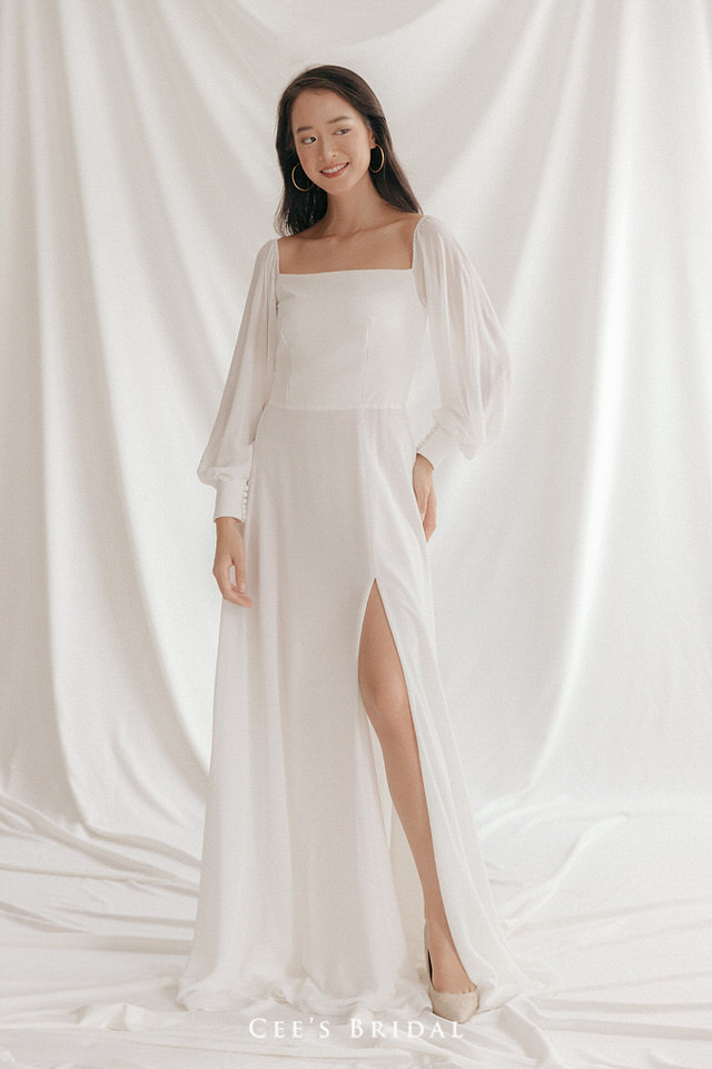 NW-091 | Chiffon bishop sleeve slit dress