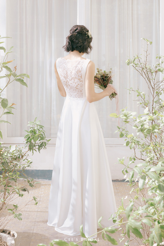 NW-105A | Lacy Back Satin Dress