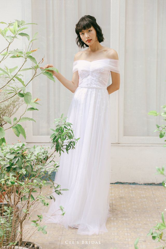 NW-108 | Pleated Tulle Drop Shoulder Dress