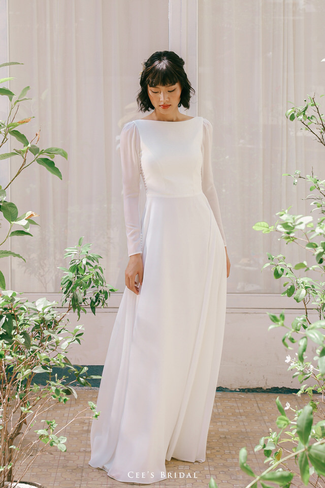 NW-103 | Long Sleeve Lace V-back Chiffon Dress