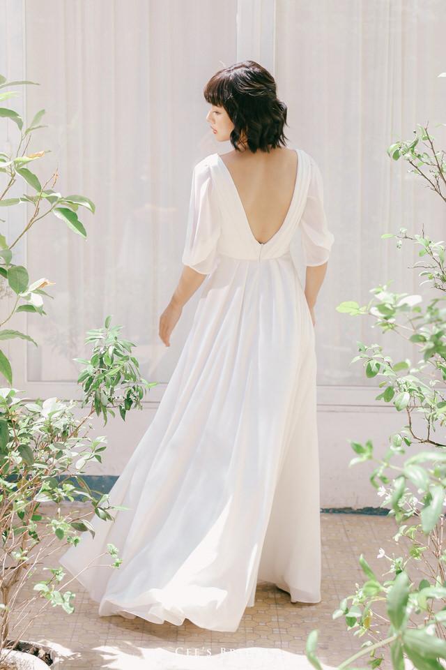 NW-102 | Draped Top and Sleeve Chiffon Dress