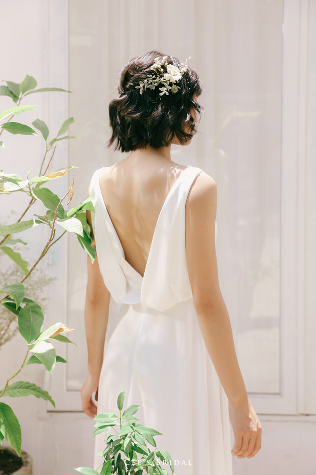 NW-120 | Cowl-neck with Draped-back Chiffon Dress - including Beaded Sash